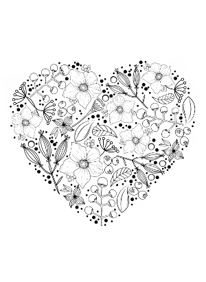 Flower Heart Coloring Page Bleeding Heart Flower Coloring Page ...